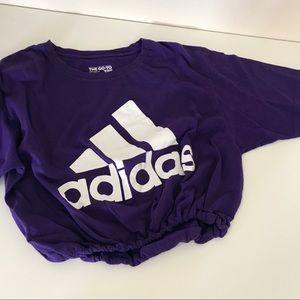 Purple adidas drawstring crop tee